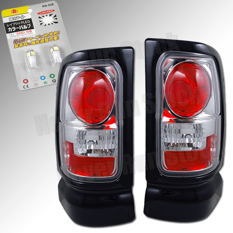 DODGE RAM CLEAR LENS CHROME HOUSING ALTEZZA TAIL LIGHTS DIRECT FIT PAIR